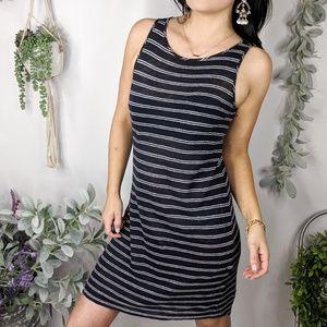VINCE linen jersey tank dress blue stripe